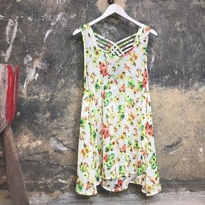 Millau floral sleeveless crisscross back dress